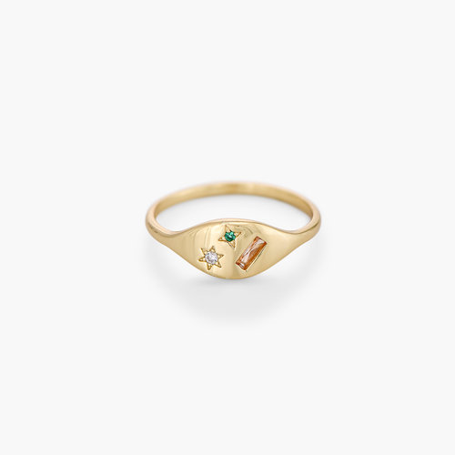 Elipse Ring with Stars - Gold Plated product photo
