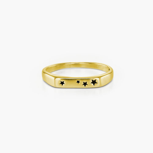 Galaxy Thin Signet Ring - Gold Plated product photo