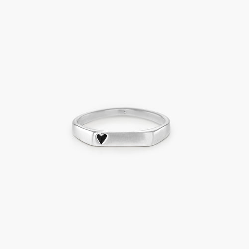 Echo Heart Thin Signet Ring - Sterling Silver product photo