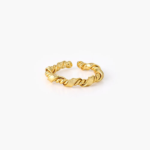 Twisted Chain Link Ring Band - Gold Plated product photo