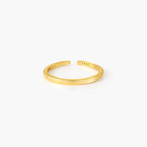 Bar Ring with Beaded Band - Gold Plated product photo