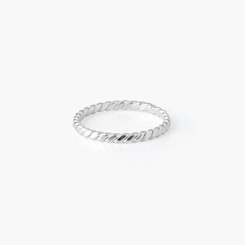 Braided Stackable Ring Band - Sterling Silver product photo