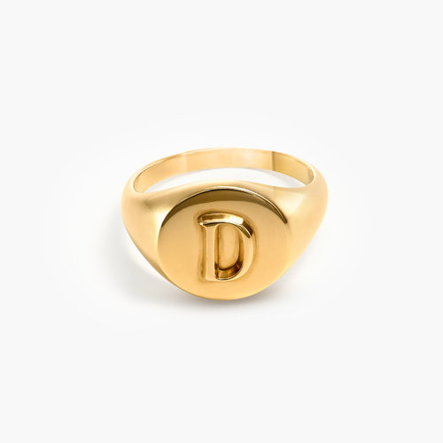 Ayla Round Initial Signet Ring - Gold Plating product photo