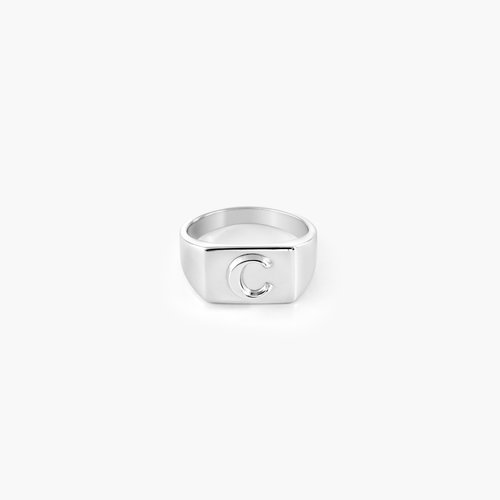 Ayla Square Initial Signet Ring - Sterling Silver product photo