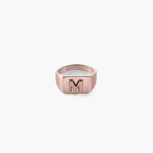Ayla Square Initial Signet Ring - Rose Gold Plating product photo