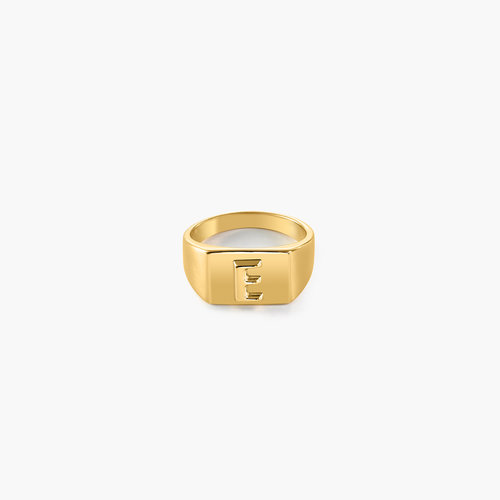 Ayla Square Initial Signet Ring - Gold Vermeil product photo