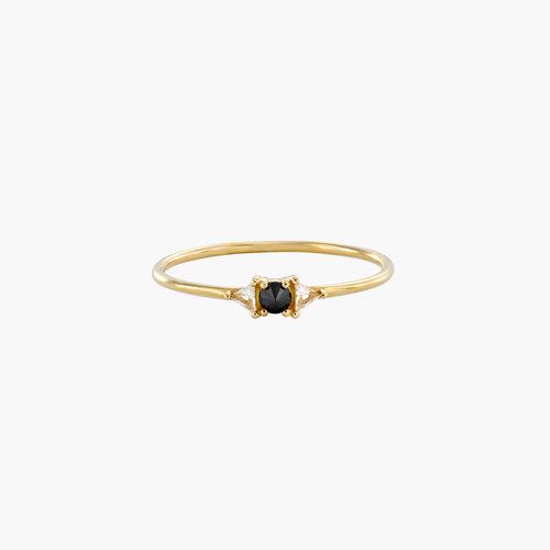 Sloane Black Diamond and White Topaz Ring - 14K Solid Gold product photo