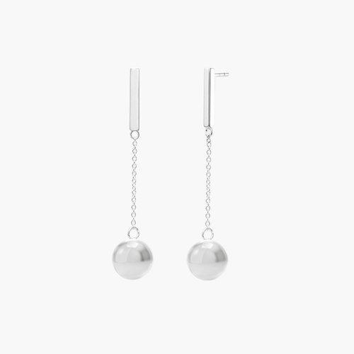 Orb Drop Earrings - Silver product photo