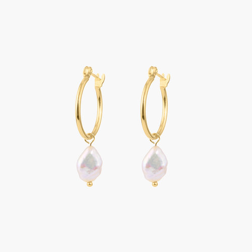 Pearls Just Wanna Have Fun Hoop Earrings - Gold Plated product photo