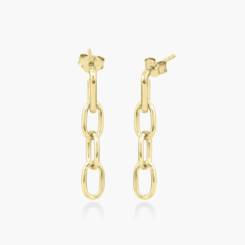 Cuban Link Chain Stud Earring - Gold Plated product photo