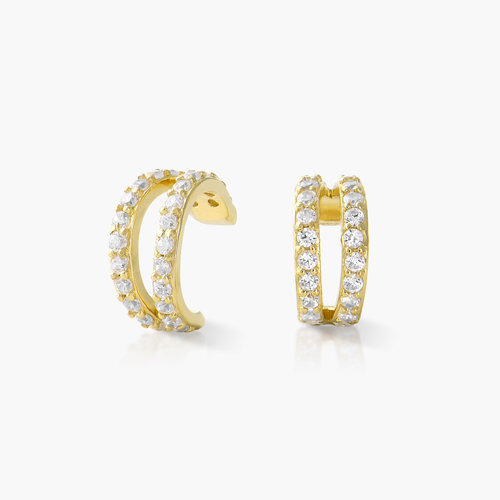 Double Band Ear Cuffs with Cubic Zirconia - Gold Plated product photo