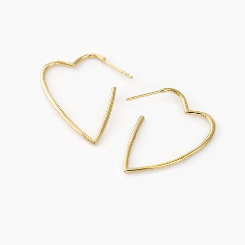 Hoop Heart Earrings - Gold Plated product photo