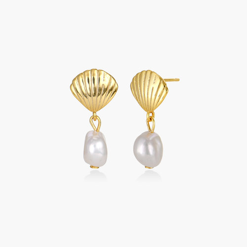Shell Pearl Drop Earrings - Gold Plated product photo