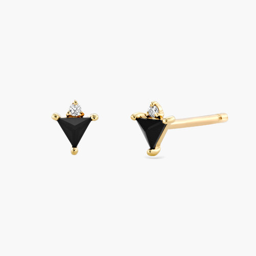 Cora Black Spinel Stud Earrings with Diamonds - 14K Solid Gold product photo