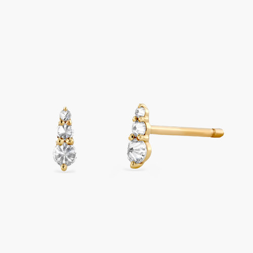 Annalise Diamond Stud Earrings - 14K Solid Gold product photo