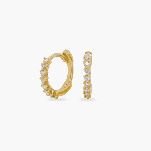 Florentine Diamond Hoop Earrings - 14K Solid Gold product photo