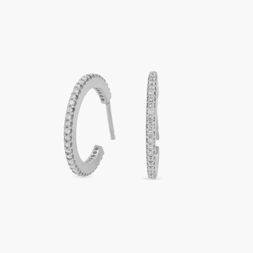Fiona Diamond Hoop Earrings - Sterling Silver product photo