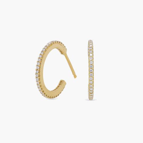 Fiona Diamond Hoop Earrings - 14K Solid Gold product photo