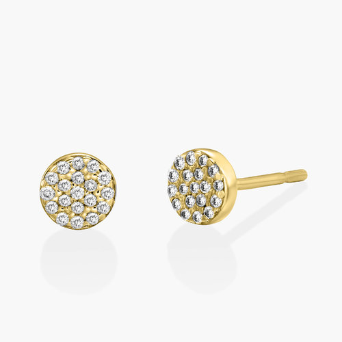 Alice Diamond Pave Stud Earrings - 14K Solid Gold product photo