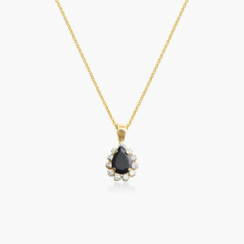 Black Sapphire and Cubic Zirconia Pendant Necklace - 14K Gold product photo