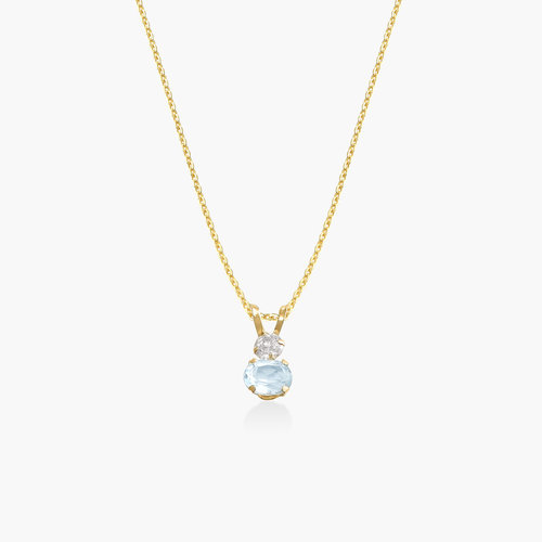 Aquamarine and Cubic Zirconia Pendant Necklace - 14K Gold product photo