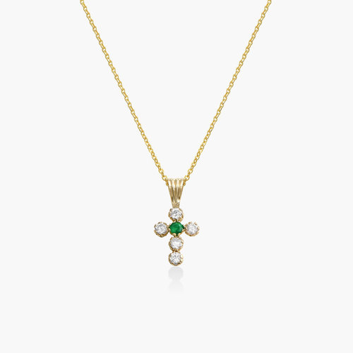 Emerald and Cubic Zirconia Small Cross Necklace - 14K Gold product photo