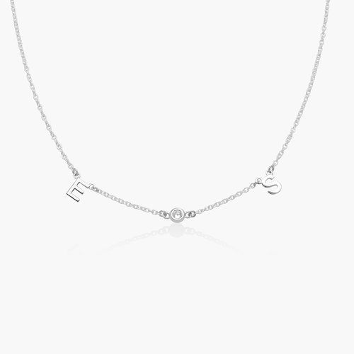 Inez Initial Necklace with Diamond - Silver product photo
