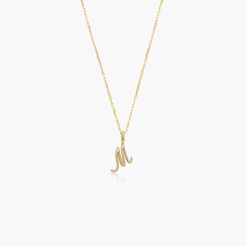 Nina Small Initial Musical Necklace - Yellow Gold product photo