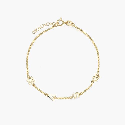 Inez Initial Bracelet - 14K Solid Gold product photo