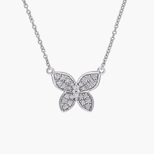 Aurora Diamond Butterfly Necklace - 10K White Gold product photo
