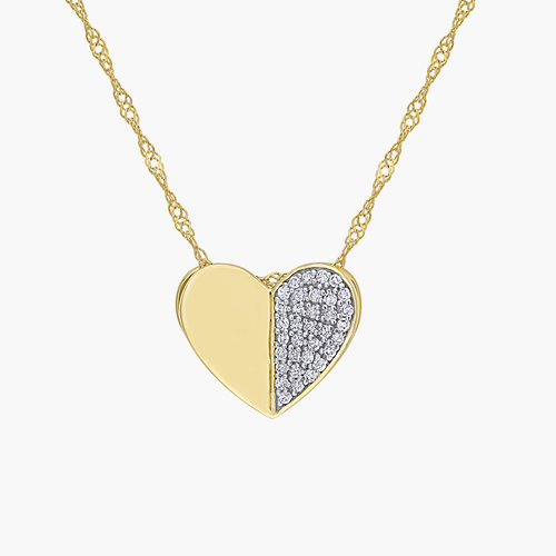 Eloise Diamond Heart Necklace - 10K Yellow Gold product photo