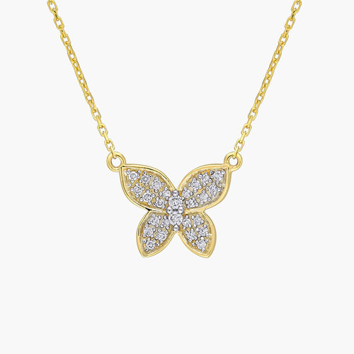 Aurora Diamond Butterfly Necklace - 10K Yellow Gold product photo
