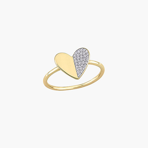 Eloise Diamond Heart Ring - 10K Yellow Gold product photo