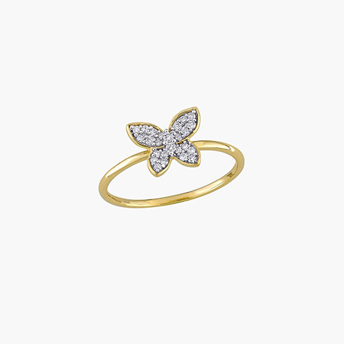 Aurora Diamond Butterfly Ring - 10K Yellow Gold product photo