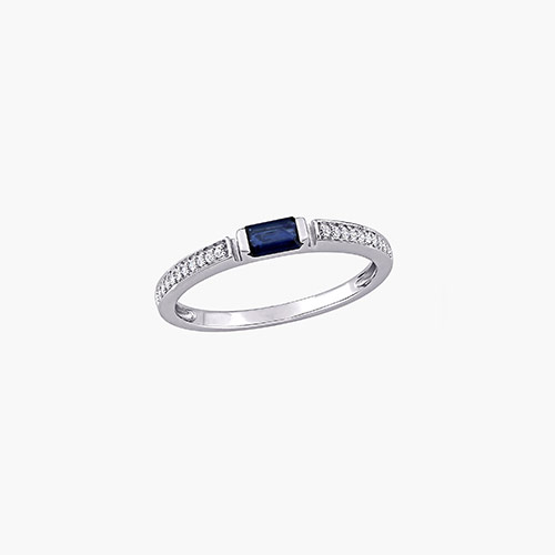 Diamond and Sapphire Ring - 10K White Gold product photo