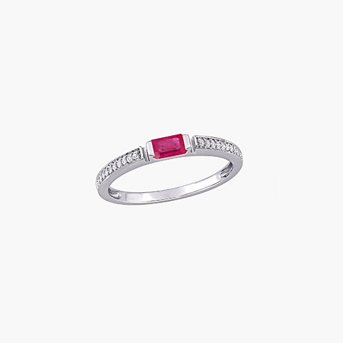 Diamond and Ruby Ring - 10K White Gold product photo