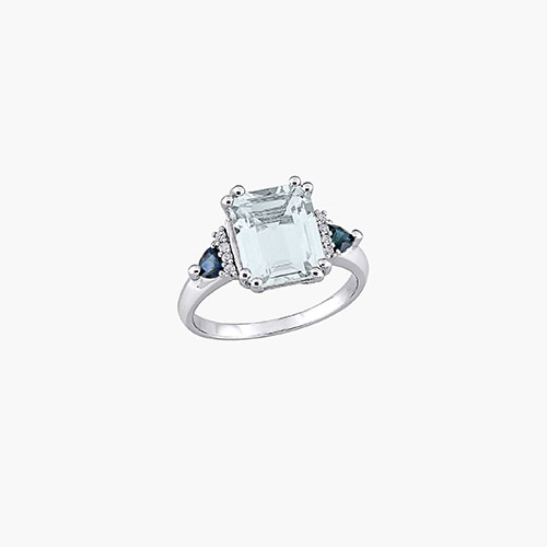 Dean Aquamarine and Diamond Ring - Sterling Silver product photo
