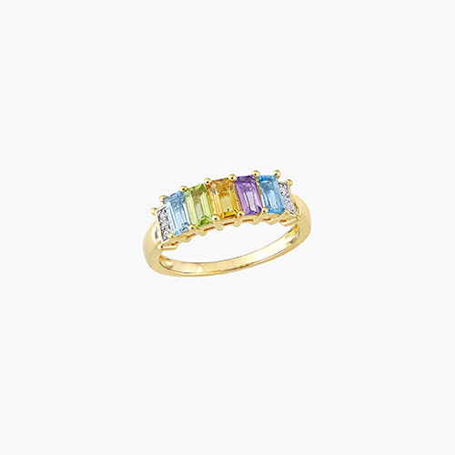 Belle Multi-Gemstone Baguette Ring - Gold Plating product photo