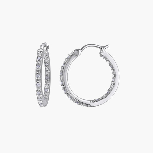 Tara Inside-Out Diamond Hoops - Sterling Silver product photo