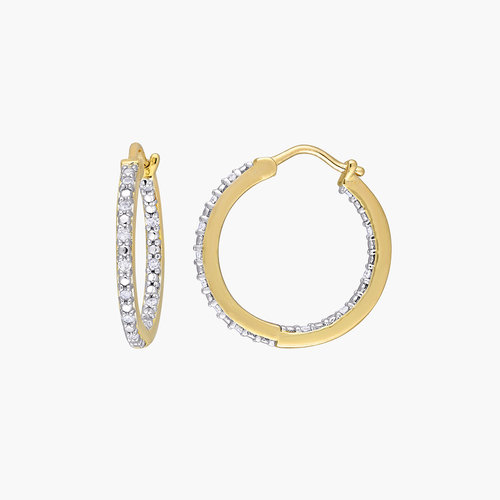 Tara Inside-Out Diamond Hoops - Gold Plating product photo