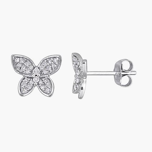 Aurora Diamond Butterfly Stud Earrings - 10K White Gold product photo