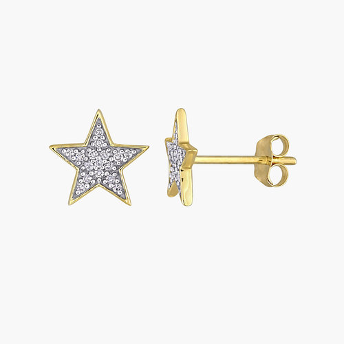 Juliette Diamond Star Stud Earrings - 10K Yellow Gold product photo
