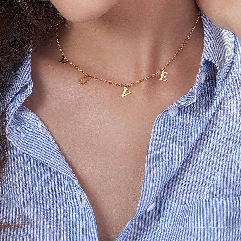 A to Z Choker, Gold Plated - 3