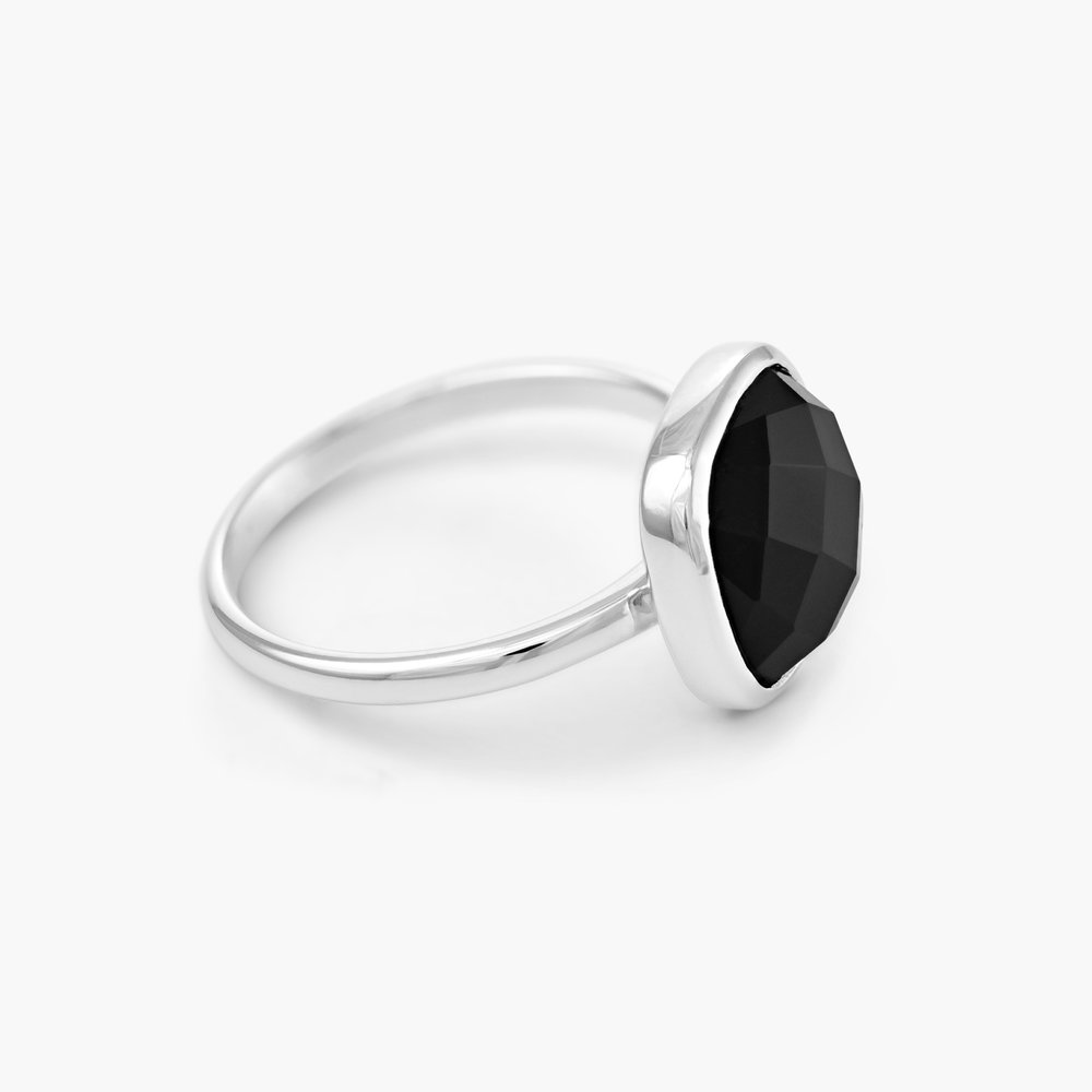 Black Chalcedony Ring, Silver - 1