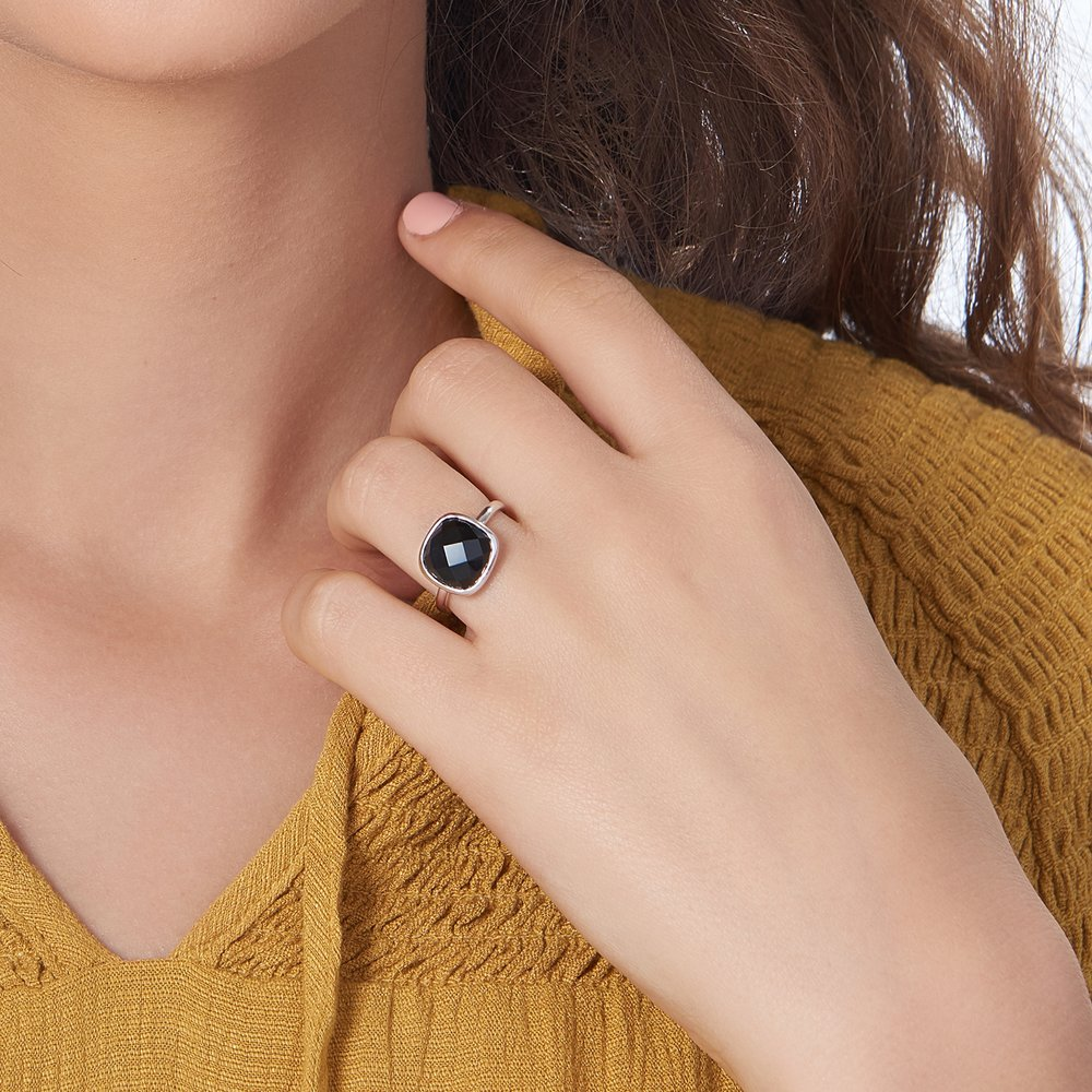 Black Chalcedony Ring, Silver - 3