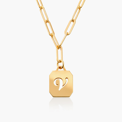 Chain Reaction Initial Necklace - Gold Plated