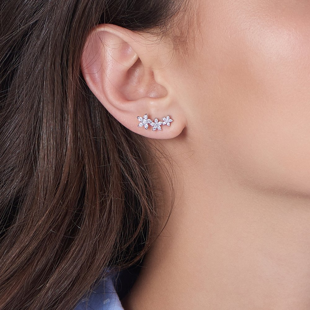 Constellation Ear Climbers, Silver - 3