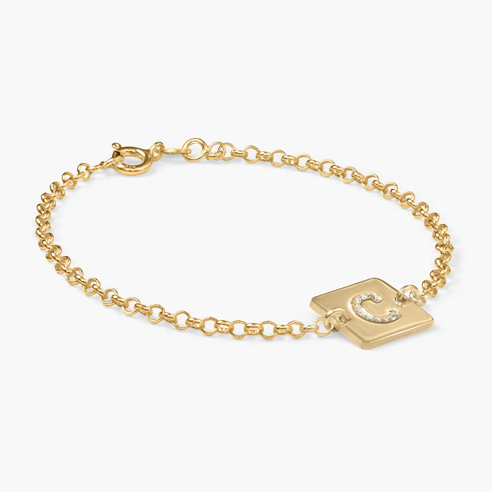 Cube Letter Bracelet with Cubic Zirconia, Gold Plated - 1