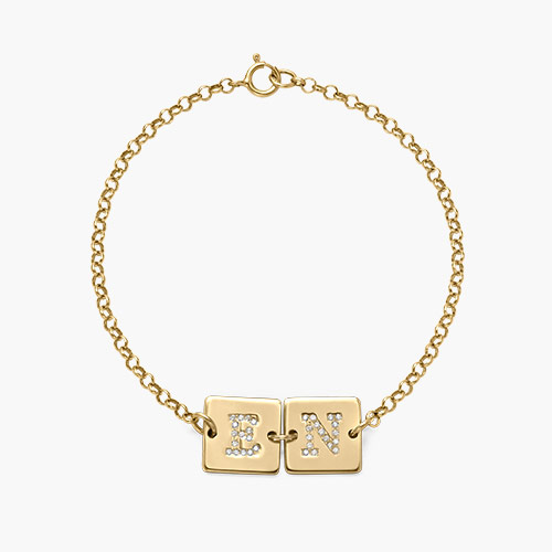 Cube Letter Bracelet with Cubic Zirconia, Gold Plated