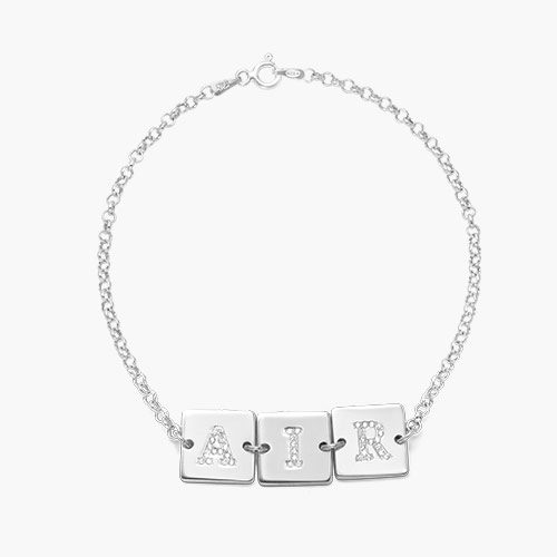 Cube Letter Bracelet with Cubic Zirconia, Silver